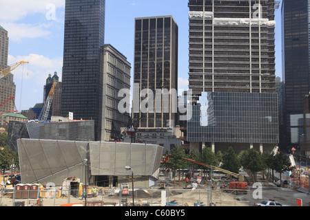 9/11 Memorial and museum under construction at World Trade Center site, Ground Zero, Manhattan, New York City - Stock Photo