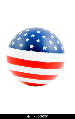 United States of America flag on a ball on white background - Stock Photo