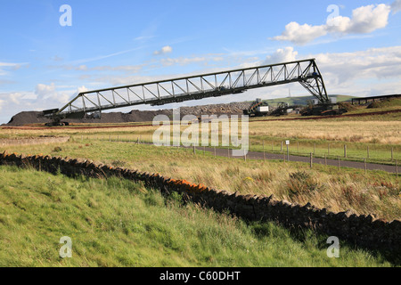 Lafarge Cement UK overburden transporter at  their quarry near Dunbar, East Lothian, Scotland - Stock Photo
