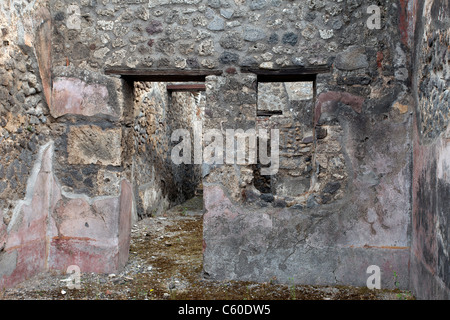 Pompeii Italy ruins of ancient city after the destruction by eruption of Mount Vesuvius volcano.  Ancient house. - Stock Photo