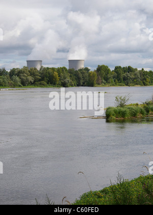 Along the Loire river there are many nuclear power stations. This one is in St. Laurent des Eaux, near Blois. France - Stock Photo