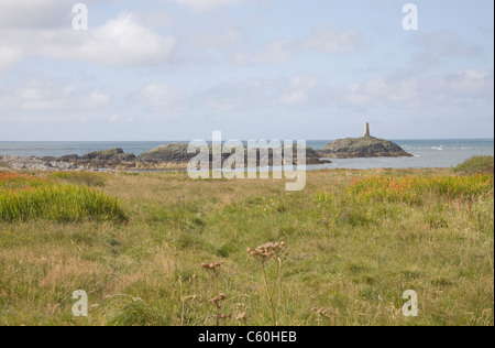 Isle of Anglesey North Wales UK Looking across to Rhoscolyn Beacon once used as a navigation aid Rhoscolyn Beacon - Stock Photo