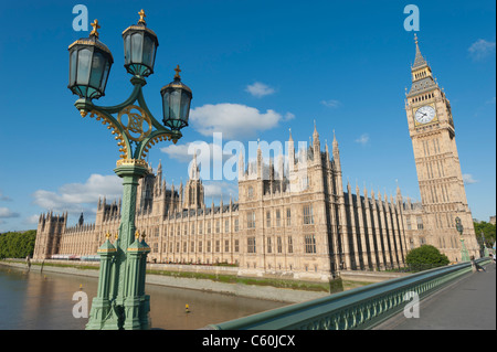 The Houses of Parliament beside the River Thames in London, England, UK. As seen from Westminster Bridge on a summer's - Stock Photo