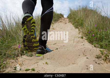 Close up of runner's shoes - Stock Photo