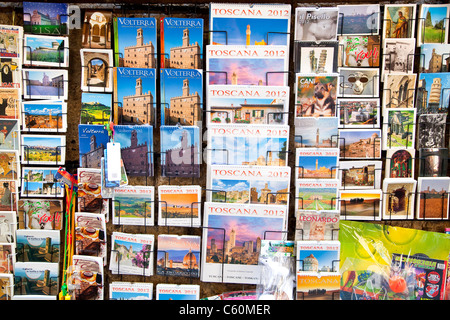 Postcards and guidebooks for sale in Volterra, Pisa, Tuscany, Italy, Europe - Stock Photo