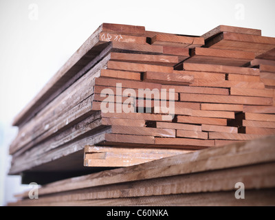 Close up of planks of wood in joinery - Stock Photo