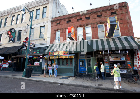 cafes and bars on beale street memphis tennessee united states america usa - Stock Photo