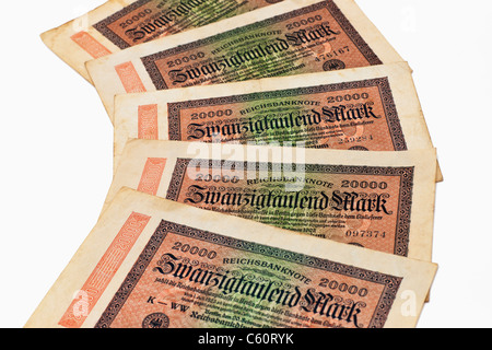 Detail photo of some old German bills of February 20th 1923 about the amount of twenty thousand reichsmarks - Stock Photo