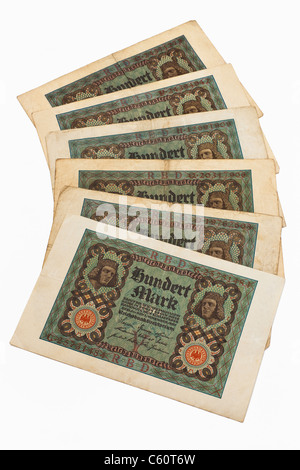 Detail photo of six old German bills of November 1st 1920 about the amount of one hundred reichsmarks - Stock Photo