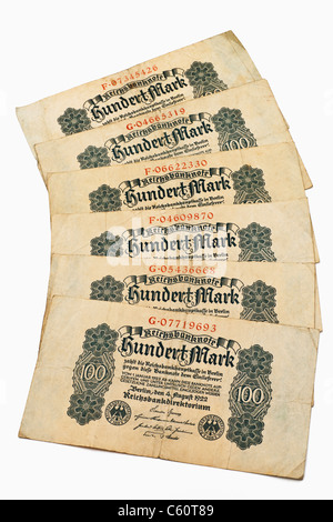 Detail photo of six old German bills of August 4th 1922 about the amount of one hundred reichsmarks - Stock Photo