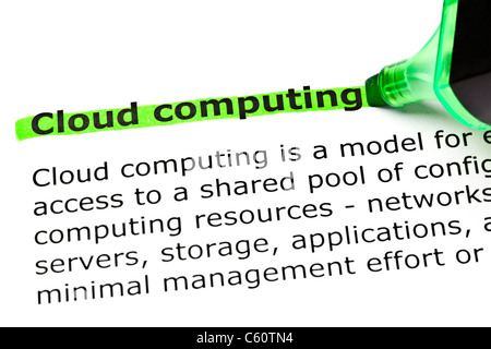 'Cloud computing' highlighted in green with felt tip pen - Stock Photo