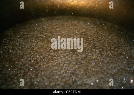 Close up of water boiling in a saucepan - Stock Photo