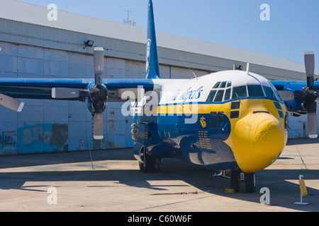 'Fat Albert' - C-130 support plane for US Navy Blue Angels at Naval Air Museum in Pensacola, Florida. - Stock Photo
