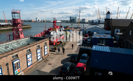 A view of Trinity Buoy Wharf and the Millennium Dome East London England UK - Stock Photo
