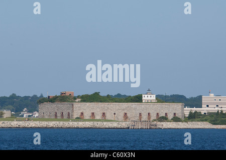 Massachusetts, New Bedford. Civil war-era Fort Rodman (aka Fort Taber, Old Stone Fort & Fort at Clark's Point). - Stock Photo