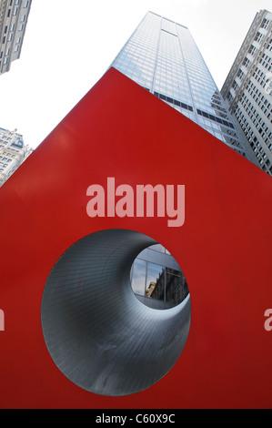 Isamu Noguchi's Red Cube on Broadway Street, New York City, Manhattan, USA - Stock Photo