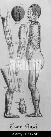 Human figure shown in left profile with acupuncture points and meridians identified. Also shown are views of the - Stock Photo