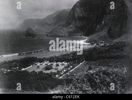 Leper Colony. The Kalawao Settlement, on the small Hawaiian island of Molokai, was established in 1866 as the first - Stock Photo