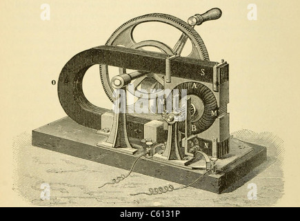 A hand cranked device onsisting of coiled metal wire and a magnet, demonstrate the principle elements of 19th and - Stock Photo