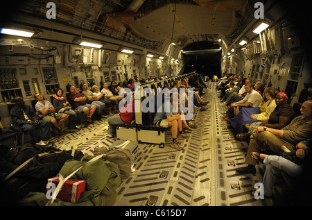 US citizens evacuated from earthquake stricken Haiti in a Air Force C-17 transport. Jan. 15 2010. (BSLOC 2011 12 - Stock Photo