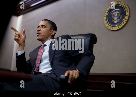 President Obama speaks during a meeting with the National Security Council on Afghanistan and Pakistan in the White - Stock Photo