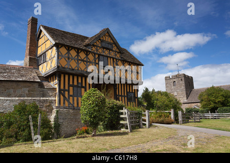 The beautiful Stokesay castle in Shropshire. One of the finest and best preserved fortified medieval manor houses - Stock Photo