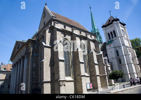 Cathédrale Saint-Pierre Spires in Geneva - Stock Photo