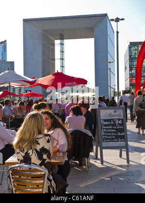 Paris, Cafe, France, La Défense Business Center,  Crowd of People Sitting Outside on Outdoor, Terrace - Stock Photo