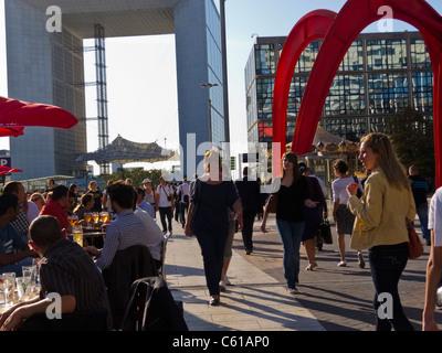 Paris, France, La Défense Business Center,  People on Outdoor Café Terrace - Stock Photo