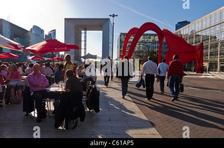Paris, France, La Défense Business Center,  Crowd of People on Outdoor Café Terrace - Stock Photo