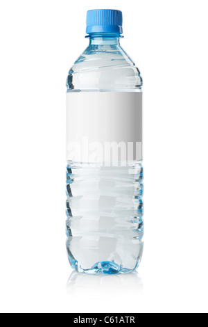 Soda water bottle with blank label. Isolated on white - Stock Photo