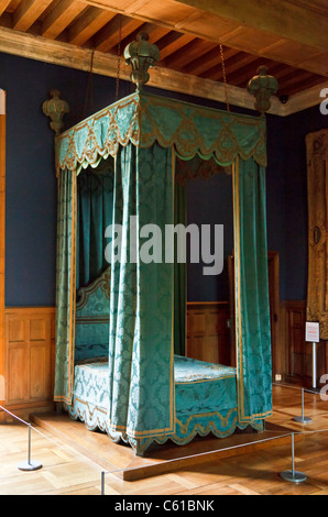 Four poster bed in the Chateau of Azay-le-Rideau, Indre et Loire, France, Europe - Stock Photo