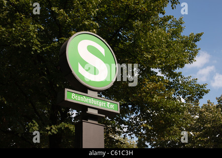 S-Bahn station sign for Brandenburger Tor in Berlin, Germany. - Stock Photo