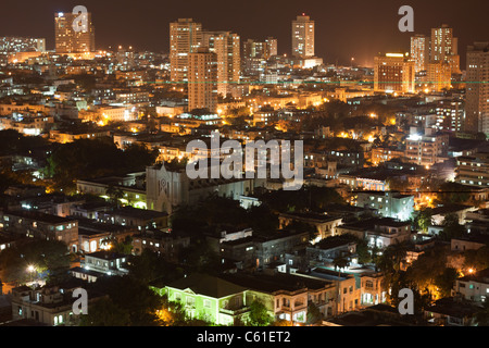 Aerial view of modern quarter of Vedado in Havana, Cuba, at night. - Stock Photo