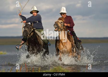 Rearing a horse , Song Kul Kyrgyzstan - Stock Photo