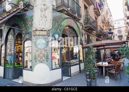 Spain, Barcelona, Las Ramblas, The Escriba Patisserie and Chocolate Shop - Stock Photo