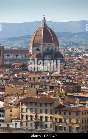 View of Florence, Italy, the Duomo, late afternoon sunlight, from Piazzale Michelangelo. - Stock Photo