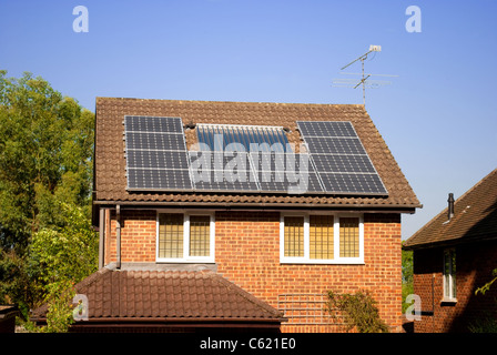 Solar panels on roof - Stock Photo