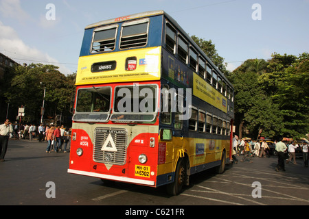 Double Decker bus departing from central bus station in Mumbai India Stock Photo