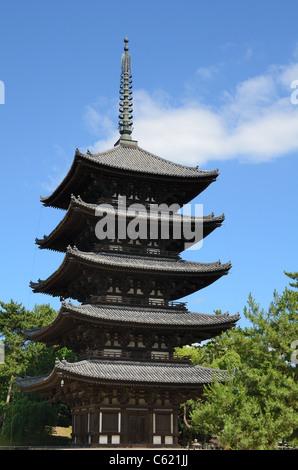 Kofuku-ji is one of the 8 Historic Monuments of Ancient Nara as designated by UNESCO in Nara, Japan. - Stock Photo