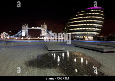 London City Hall and Tower Bridge, UK - Stock Photo