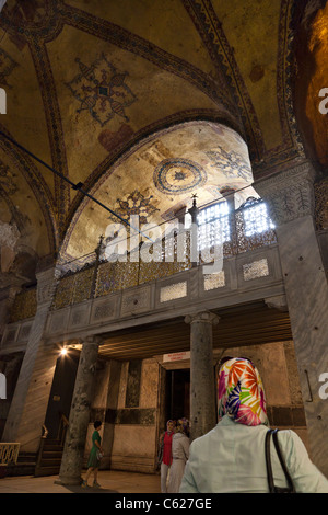 Vertical view of a balcony in the Interior of Haghia Sophia, Istanbul, Turkey - Stock Photo