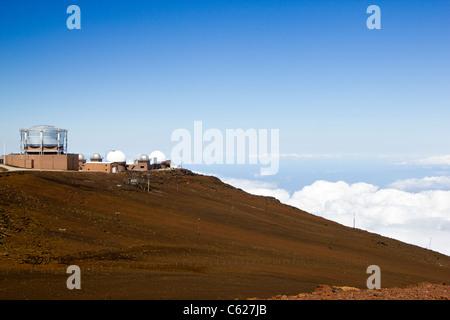 Observatory on the Summit of Haleakala Volcano , Maui, Hawaii. - Stock Photo