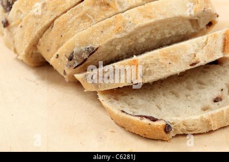 Closeup of traditional Italian olive bread - Stock Photo