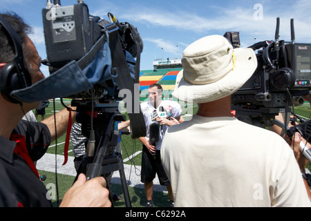 saskatchewan roughriders slotback weston dressler being interviewed during pre season training mosaic stadium taylor - Stock Photo