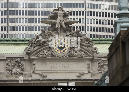 Statue of Mercury over clock at Grand Central Terminal; 42nd Street; New York City. - Stock Photo
