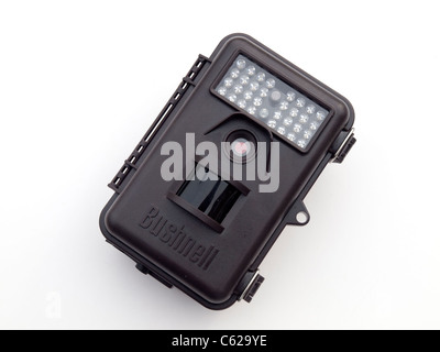 Bushnell Trophy Cam automatic day and night still and video camera for recording wildlife on a white background - Stock Photo