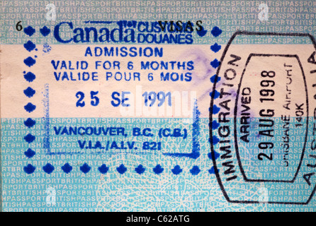 Stamp in British passport for admission into Canada for 6 months, stamped at Vancouver - Stock Photo