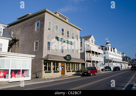 Rhode Island, Block Island (aka New Shoreham). Downtown main street. - Stock Photo