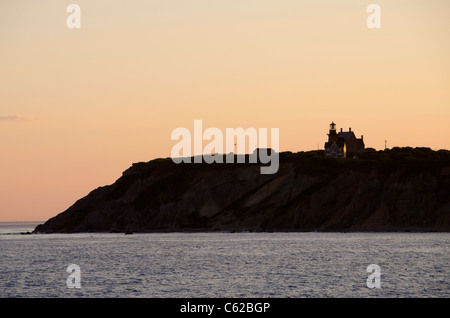 Rhode Island, Block Island (aka New Shoreham). Sunset at Block Island, Southeast Lighthouse. - Stock Photo